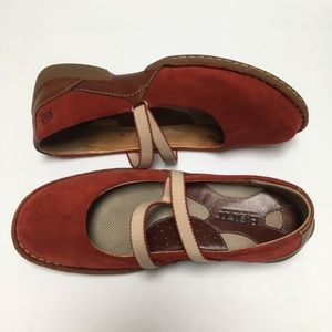 Born Women's Red Suede Leather Mary Jane shoes 7